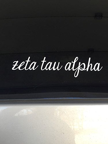 Sorority Car - Zeta Tau Alpha Script Cursive Sorority Sticker Window Laptop Car Decal Vinyl Ipad Iphone ss116
