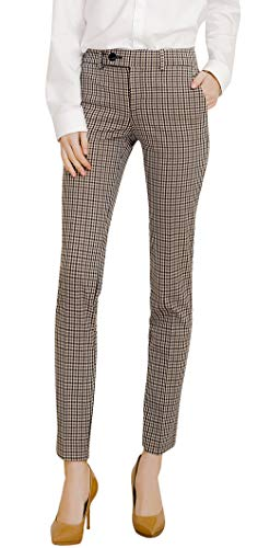 Marycrafts Women's Work Dress Pants Straight Leg Bootcut Trousers M Plaid 1