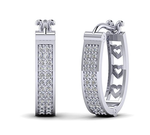 Fehu Jewel 0.32cts Natural Diamond Gold Over Sterling Silver Lovely Diamond Hoop Earrings For Women (white-gold-plated-silver)