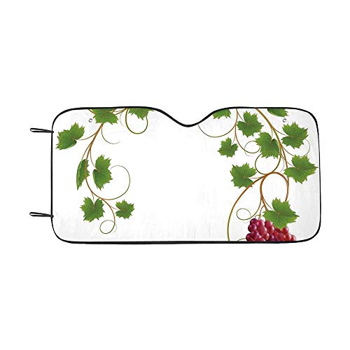 Grapes Home Decor Durable Car Sunshade,Curved Ivy Branch Deciduous Woody Wines Seed Clusters Cabernet Kitchen for car,55