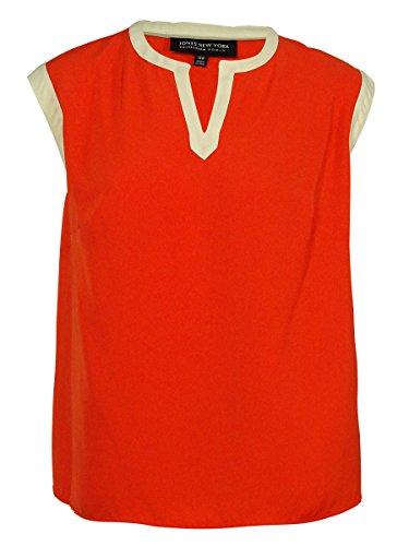 Jones New York Collection Woman Sleeveless Top - Jones New York Women's Sleeveless V-Neck Top (Mandarin Orange, 14W)