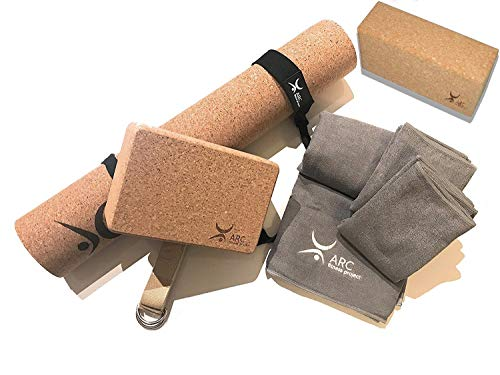 ARC Natural Cork Yoga Set Starter Kit, 8 Pieces Equipment, Includes 1 CORK (4mm) Yoga Mat, 2 Yoga Blocks, 2 Yoga Straps, 1 Large Microfiber Towel, 2 Hand Microfiber Towels.