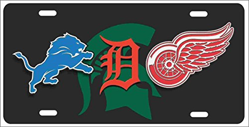 ATD Detroit Michigan State Sport Teams Combined Logo Personalized Novelty License Plate Lions, Tigers, Red Wings can Also be Used as a Door Sign