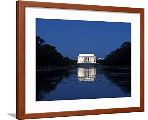 ArtEdge Lincoln Memorial Reflection in Pool, Washinton D.C, USA by Stocktrek Images, Wall Art Framed Print, 18x24, Brown Soft White Mat