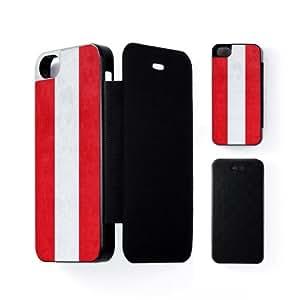 Subtle Grunge Flag - Austria Flag - Flag of Austria Carcasa Protectora Snap-On Negra en Formato Duro para Apple® iPhone 5 / 5s de UltraFlags + Se incluye un protector de pantalla transparente GRATIS