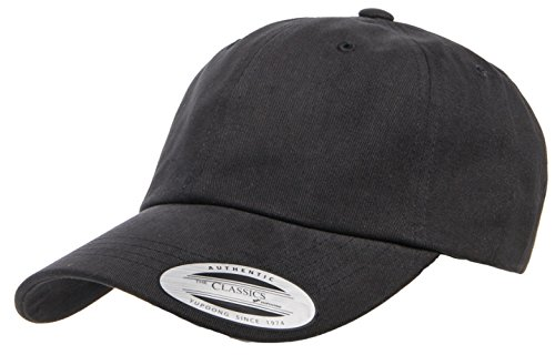 Yupoong Twill Hat (Yupoong Peached Cotton Twill Dad Cap, Black, One Size)