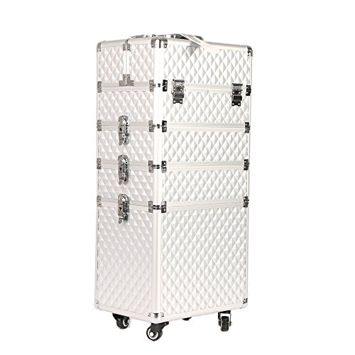 Professional Makeup Train Case,Portable Aluminum Rolling Cosmetic Storage Jewelry Organizer Travel Brush Bag Holder with DIY Adjustable Divider&Key Lock,4-in-1 Artist Trolley Caster Box Bin-Silver