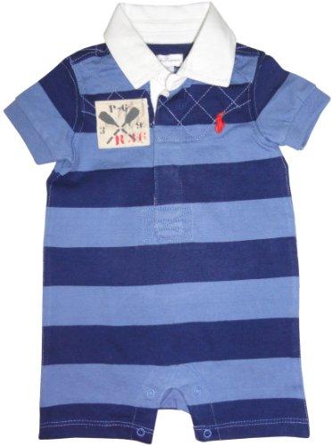 Ralph Lauren Polo Infant Boys Short Sleeve Rugby Romper Navy/Blue (6 Months)