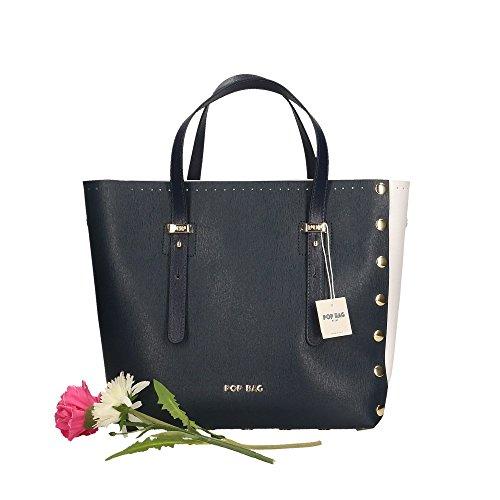 Blanc Saffiano femme POP 28x27x13 Made Bleu en à Italy Impression main Bags cuir Bleu Cm Sac véritable in qwI7w1aCx