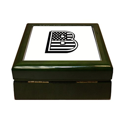 Initial Tile Box (B American Flag Initial Monogram Letter B 4