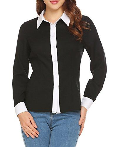 Contrast Collar Shirt (SoTeer Women's Fasionable Contrast-Collar Long Sleeve Blouse)