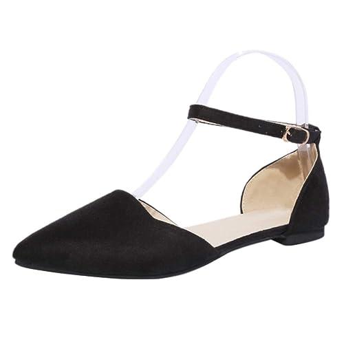 e1415f81 uirend Sandalias de Vestir Zapatos Mujer - Mujeres Tacon Bajo Strappy  Tobillo Corte Zapatos Apuntado Planos Hebilla Sandalias Informal Oficina  Trabajo ...