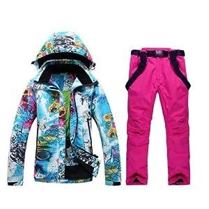 IJL Combinaison de Ski pour Les Femmes, Combinaison de Plein air, Planche de Plein air, Veste de Ski Double et Pantalon de Ski imperméable