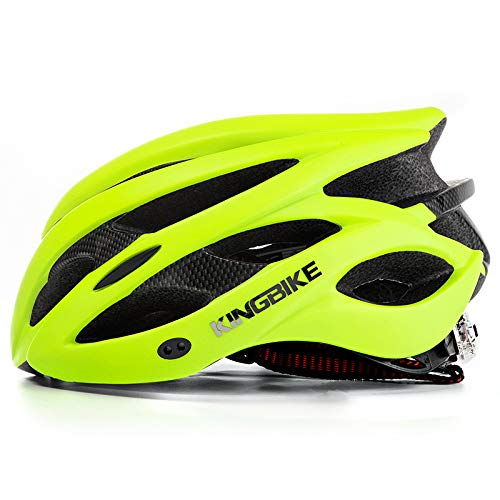 KINGBIKE Adult Bike Helmet Ultralight Bicycle Helmets Portable Bag Safety Rear Led Light Visor Men Women Road Cycling Biking (Green, L/XL(59-63CM))
