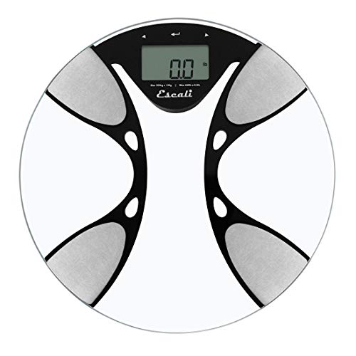 Escali BFBW200 Advanced Bioelectrical Impedance Analysis (BIA) Technology Calculates Body Fat/Water Percentages, Bathroom Scale, LCD Digital Display, 440lb Capacity, Clear
