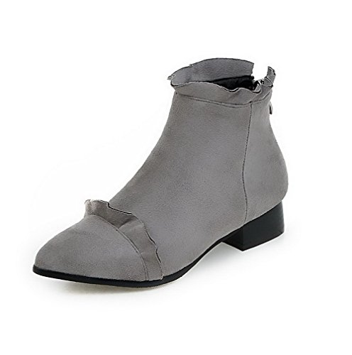 Zipper Low Low Gray Women's Solid top Heels Frosted Boots Allhqfashion w104IqCI