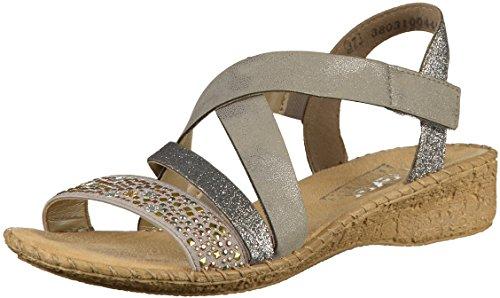 Rieker 61663-42 Ladies Strappy Sandals Grey Grau