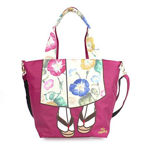 Women Totebag Shoulder Bag 2-Way - Cute Kimono Design - Japanese Import Wine