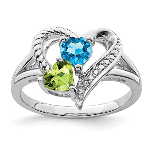 (925 Sterling Silver Blue Topaz Green Peridot Diamond Band Ring Size 8.00 S/love Gemstone Fine Jewelry Gifts For Women For)