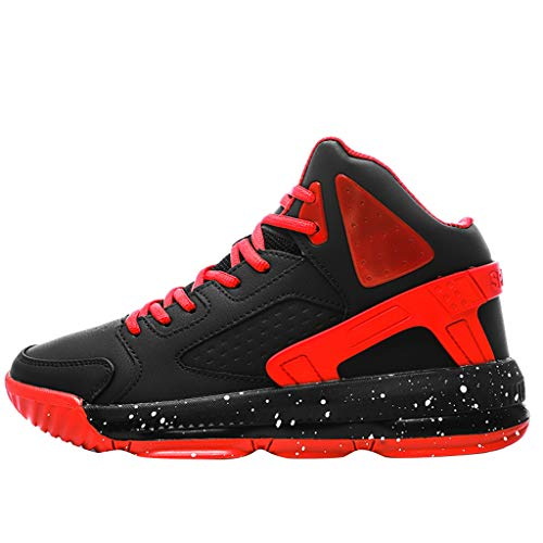 Basketball Shoes,ONLYTOP Men's High Upper Stylish Sneakers Breathable Sports Shoes Anti Slip Lightweight Walking Shoe Black