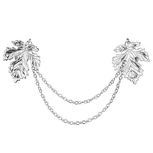 Freebily Leaf/Flower Shape Blouse Shirt Collar Neck Tip Cardigan Shawl Sweater Vintage Brooch Pin Lapel with Chain Tassel Silver Leaf One Size