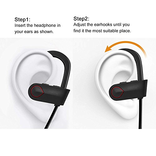 Nanle HD Stereo Wireless Headphones Curve Bluetooth 4.1 Best Sports Earphones Waterproof Sound Sweatproof Earbuds for Gym Running Workout 8 Hour Battery Noise Cancelling Headsets (Color : Red) by Nanle (Image #7)