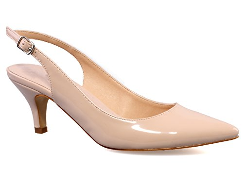 Greatonu Womens Nude Sexy Pointed Closed Toe Comfortable Slingback Pumps Court Shoes Size 10 US / 41 EU