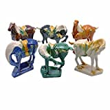 """StealStreet 20103 Small Tang Horse Decorative Figurine (Set of 6), 5.5"""", Multicolor"""