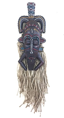 African Mask Wall Hanging Decor LUCKY TIKI Tribal African Decor - OMA BRAND (Lucky Tiki Mask)