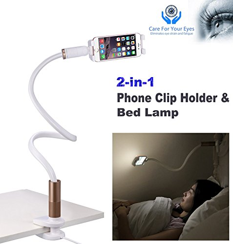 Gooseneck Cell Phone Clip Long Arm Lazy Stand Holder Rotating Adjustable Hands-free Smartphone Bracket Universal Mobile Phone Clip Portable Clamp Mount with LED light for Table/Car/Bed/Desk