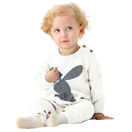 chinatera Baby Sweater Romper Infant Bunny Jumpsuits Toddler Knitted Outfits for Easter Christmas Fall Winter