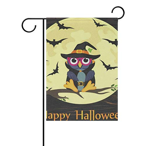 AnleyGardeflagsU Sweet Home Garden Flag Vertical Double Sided Spring Summer Halloween Owl in Witch Costume Outdoor Yard Flags Decorative 12x18 Inch -