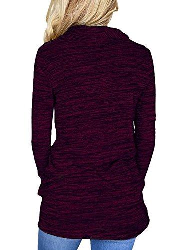 Pullover Primavera T Onlyoustyle Felpe Tunica Maglietta Moda Tops Autunno a Maglie Donne Shirt e Bluse Manica Cime Fucsia Maglione Lunga Casual 7dFd1rq4w