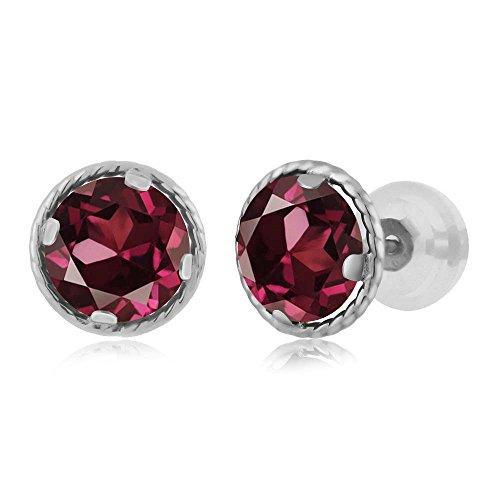 Gem Stone King 2.00 Ct Round 6mm Red Rhodolite Garnet 14K White Gold Stud Earrings