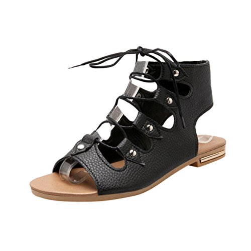 YOUJIA Women's Casual Gladiator Sandals Peep Toe Flat Roman Sandals Lace Up Summer Shoes Black PIXB7x