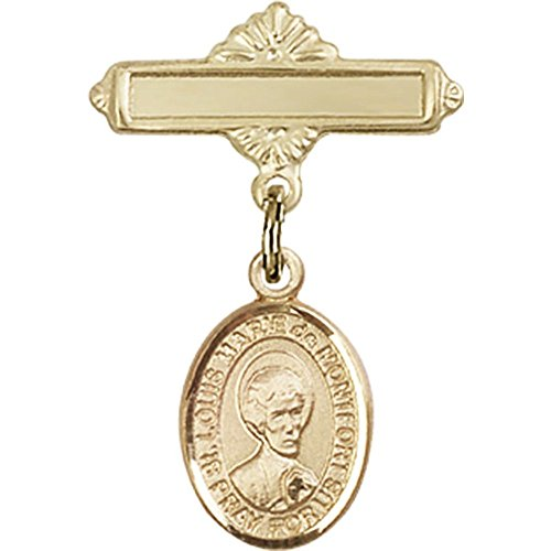 14kt Yellow Gold Baby Badge with St. Louis Marie de Montfort Charm and Polished Badge Pin 1 X 5/8 inches by Unknown