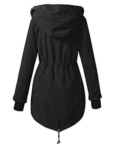 Largo Parka Jacket Mujer Negro Cálido Con Chaqueta Capucha Abrigo xvIqfqwO