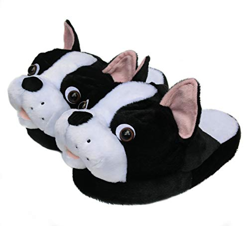 Onmygogo Fuzzy Animal Plush Slippers for Women, Winter Indoor Home Scuff Slippers for Women (US Women Size 7-9, Boston)]()