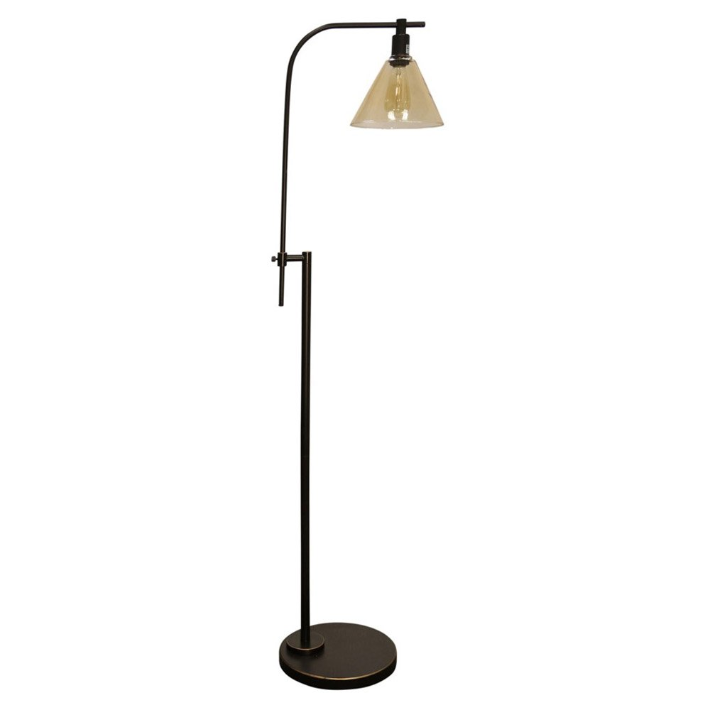 Stylecraft Bronze Adjustable Height Task Floor Reading Lamp with Glass Shade by Abode 84