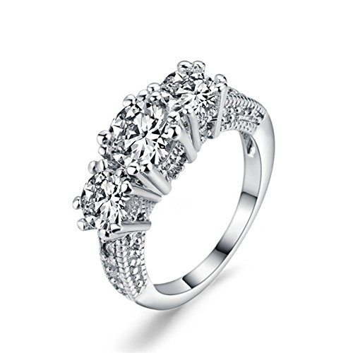 LOVERSRING Couple Ring Bridal Set His Hers White Gold Plated CZ Stainless Steel Wedding Ring Band (Gold Couples Ring)