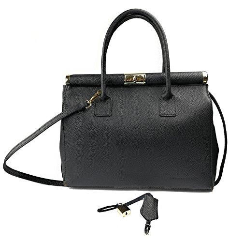 Zerimar Black Leather Handbag Woman Shoulder Bag With Large Capacity Soft Leather