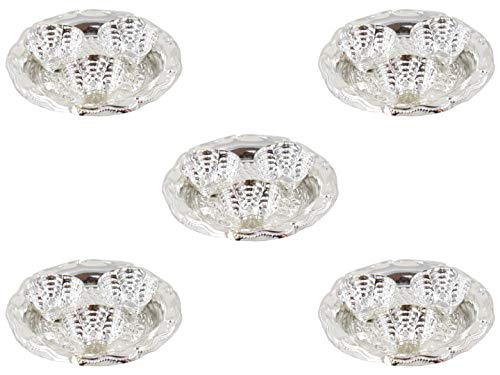 (GoldGiftIdeas Silver Plated Shiny Three-in-One Kankavati Pooja Thali Set, Indian Pooja Items for Gift, Silver Plated Pooja Items for Home, Return Gifts for Housewarming with Potli Bags (Pack of 5))