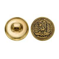 C&C Metal Products 5271 Crest Metal Button, Size 24 Ligne, Antique Gold, 72-Pack