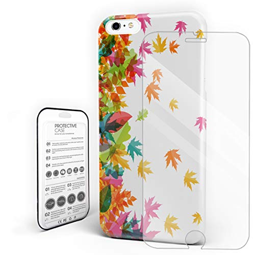 - Flying Maple Leaves Phone Case Compatible with iPhone 6 Plus and iPhone 6s Plus, Slim Shock Absorption Hard Plastic Phone Cover with Tempered Glass Screen Protector