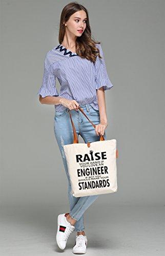So'each Women's Raise Hands Graphic Top Handle Canvas Tote Shoulder Bag