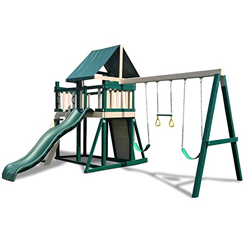 CONGO Monkey Playsystem #1 with Swing Beam - Green and Sand Low Maintenance Play Set