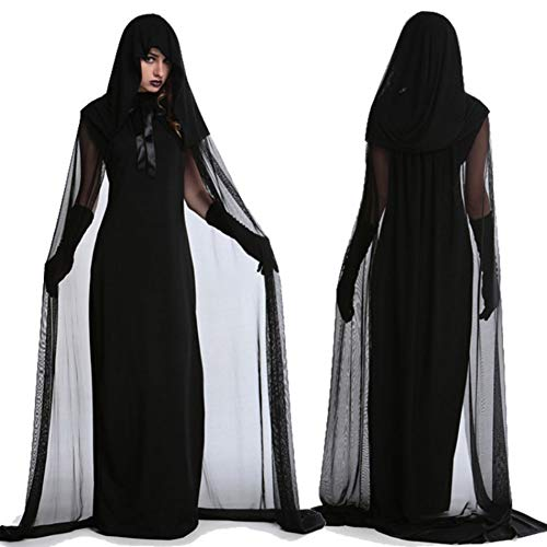 Adult Halloween Costume, Black Witch Vampire Fancy Dress Outfit Scary Evil Halloween Horror Skirt for Halloween Party Cosplay Stage -