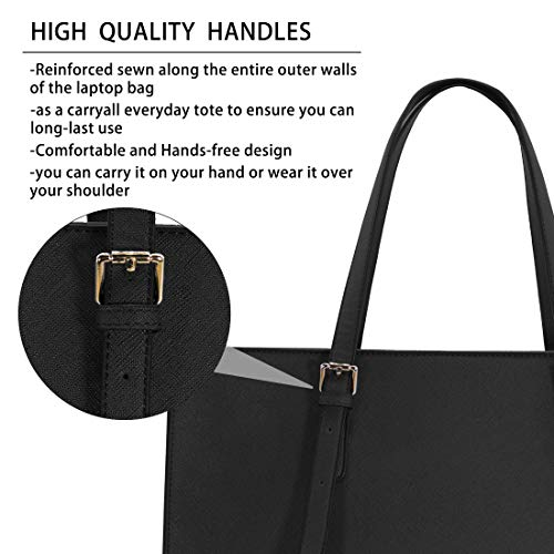 Laptop Bag for Women Waterproof Lightweight Leather 15.6 Inch Computer Tote Bag Business Office Briefcase Large Capacity…
