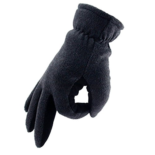 OZERO Deerskin Suede Leather Palm and Polar Fleece Back with Heatlok Insulated Cotton Layer Thermal Gloves, Large - Grey-Black by OZERO (Image #8)