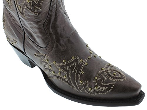 Cowboy Profesjonelle Kvinners Brunt Og Gull Sydd Skinn Cowboy Boots Avklipt Brun